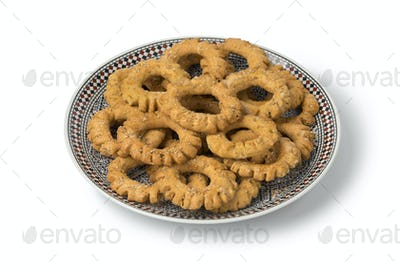 Dish with traditional festive Moroccan Kaak cookies