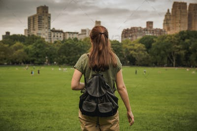 Beautiful woman on the Central Park