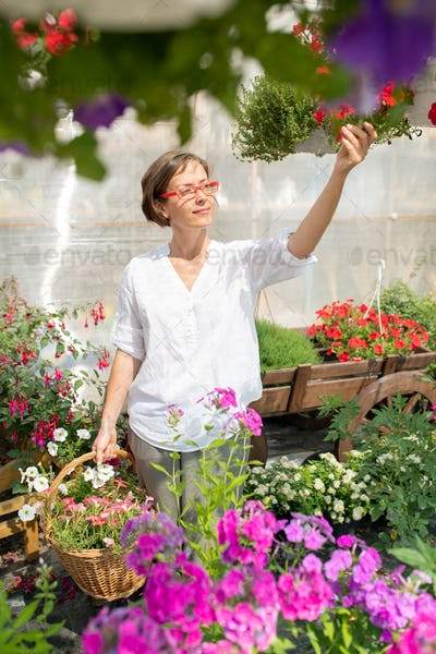 Young woman with basket of fresh flowers standing by flowerbed