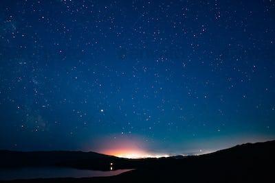 Russia, Lake Baikal, Clouds and Stars Olkhon