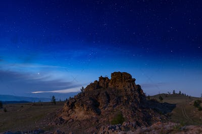 Russia, Lake Baikal, Clouds and Stars Valley of Spirits