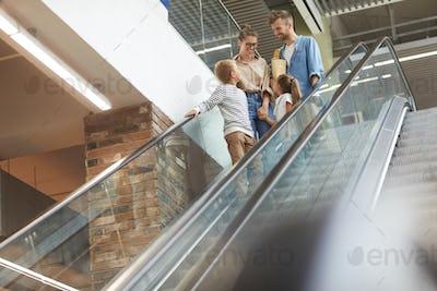 Contemporary Family in Mall