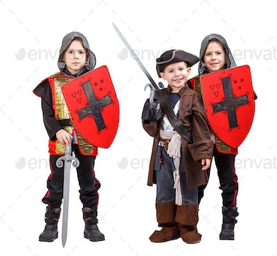 Kids in medieval knight and pirate costume
