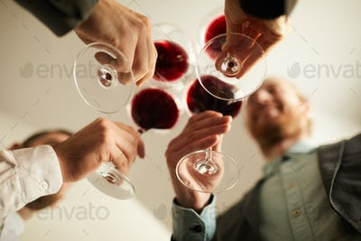 Business people Drinking Wine Low Angle
