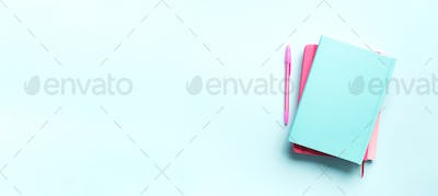 Top view of open pink, turquoise notebooks on pastel blue background. Copy space. Woman business