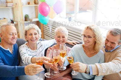 Friends excited about birthday party