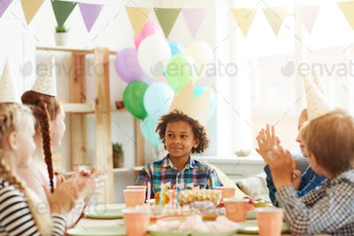 African-American Boy at Birthday Party