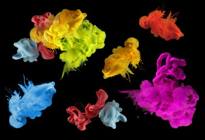 Acrylic colors in water. Ink blot. Abstract black background.  Collection. Set.