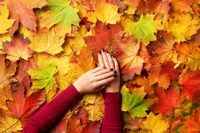 Female hand over autumn leaves background. Sunny day, warm weather. Golden autumn concept
