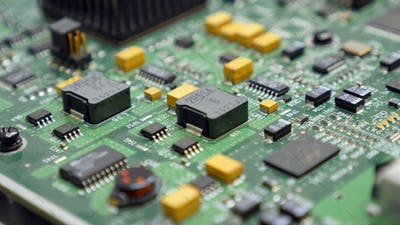 Electronic printed circuit board with many electrical components