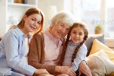 Grandmother Posing with Family