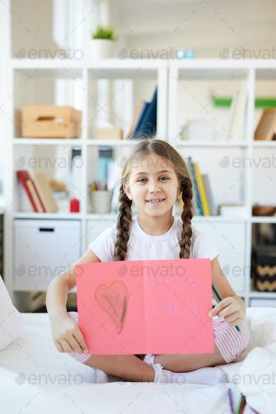 Girl Showing Handmade Card