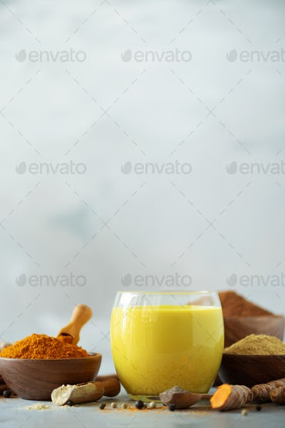 Ingredients for turmeric latte. Turmeric powder, curcuma root, cinnamon, ginger over grey background