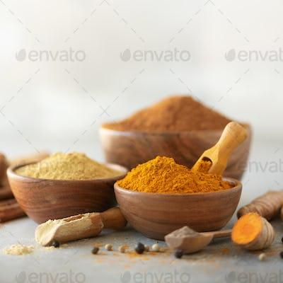 Ingredients for turmeric latte. Ground turmeric, curcuma root, cinnamon, ginger, black pepper on