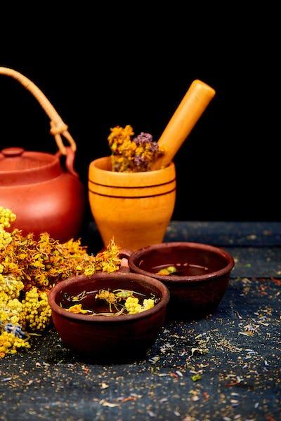 Cup of herbal tea Dry Herbs and flowers, herbal medicine.