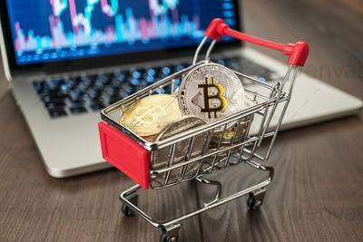 Shopping Trolley With Bitcoins And Pc