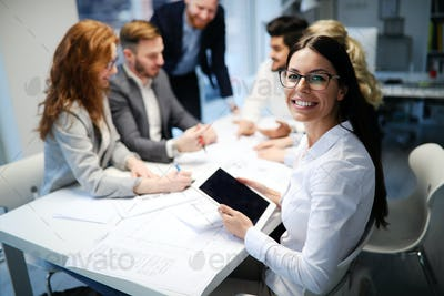 Successful company with happy workers