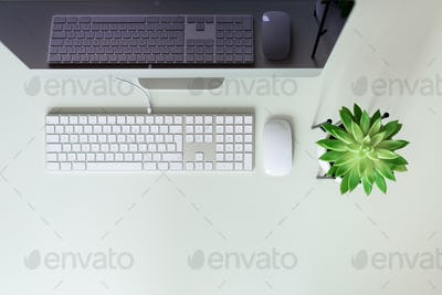 White office desk table with computer keyboard, mouse, monitor, succulent plant and other office