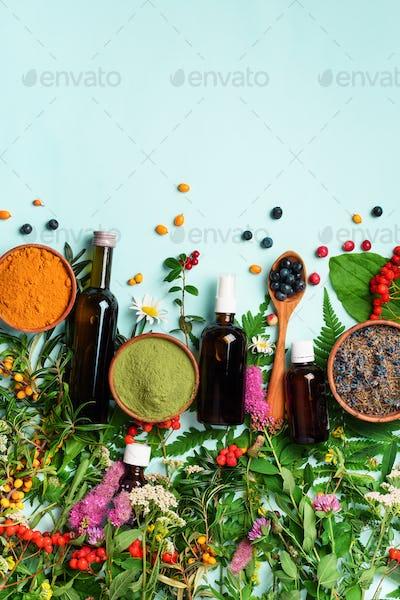 Healthy super food, berries, turmeric, spirulina, omega acid capsules, vitamin c supplement