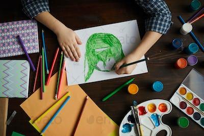 Little Boy Drawing Monster