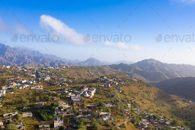 Aerial view of Rebeirao Manuel in Santiago island in Cape Verde