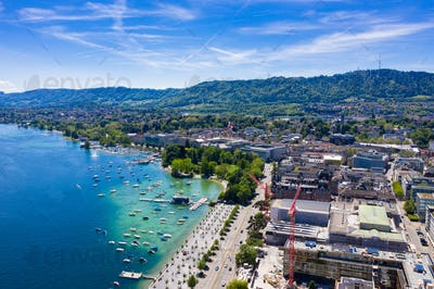 Aerial view of Zurich  city in Switzerland