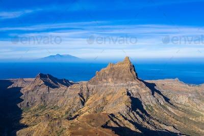 Aerial view of Brianda mount in Rebeirao Manuel in Santiago isla