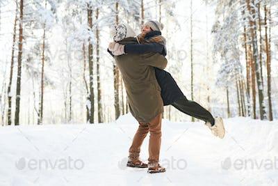 Loving Couple Enjoying  Winter