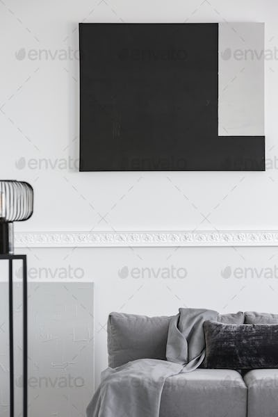 Monochrome grey, white and black living room interior with sofa