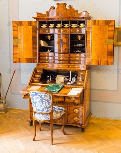 Ancient wooden dresser in museum, Europe, nobody