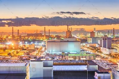 Kawasaki, Japan factories and Mt. Fuji