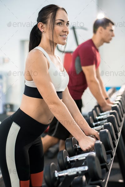 Two Clients in Modern  Health Club