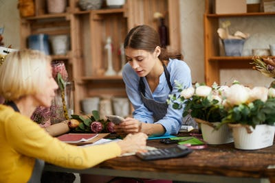 Two Woman Managing Flower Shop