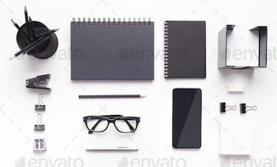 Stylish Office stationery and cellphone with blank space on table