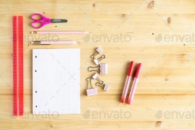 Ruler, pink scissors, pen, pencil, group of clips, notebook and two highlighters