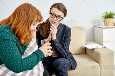 Obese Woman Crying at Therapy Session
