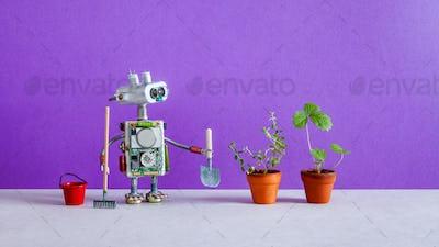 Robot gardener breeder with bucket shovel rake and sprouts