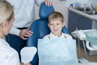 Brave Little Boy Visiting Dentist