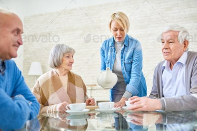 Nurse taking care of senior people