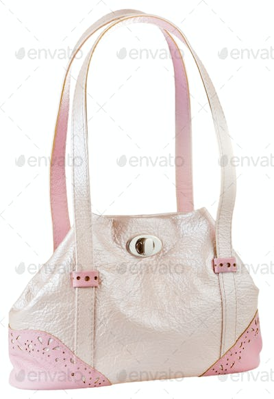 pink leather lady's bag