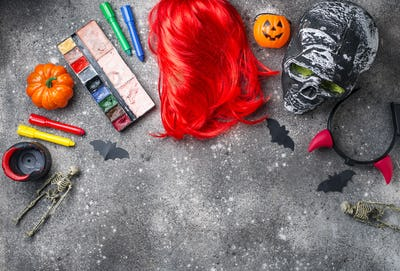 Halloween party accessories and wig