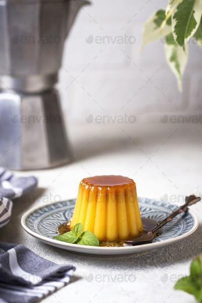 Flan or creme caramel dessert