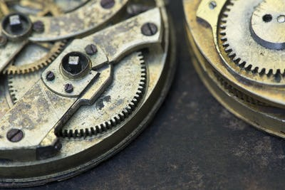Vintage watch metal gears