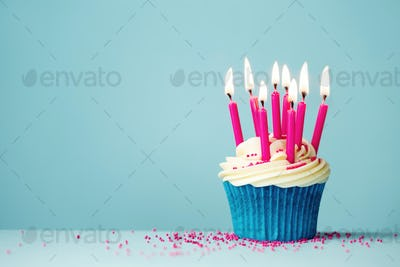 Birthday cupcake with pink candles