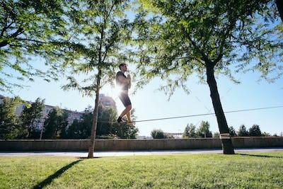 Man Training on Trickline