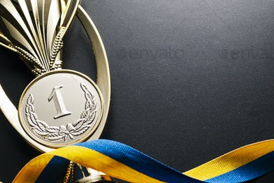 Gold winners medal for a competition or race