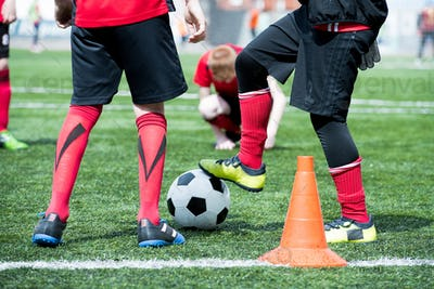 Junior Football Team with Ball