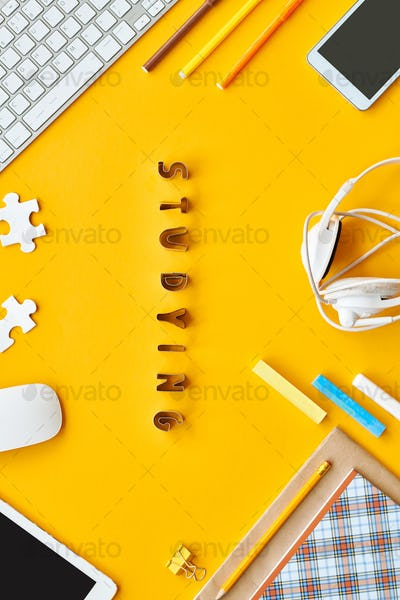 Yellow Studying Flatlay