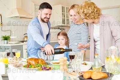 Modern  Family Setting Dinner Table for Party