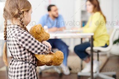 Nervous Little Girl in Doctors Office